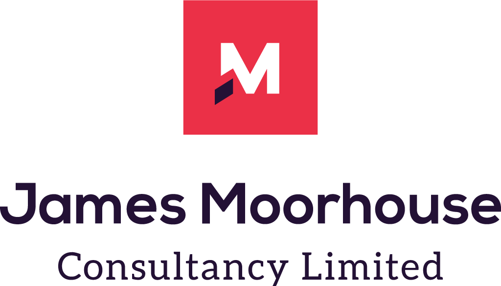 Logo for James Moorhouse Consulting Limited. M character inside red box